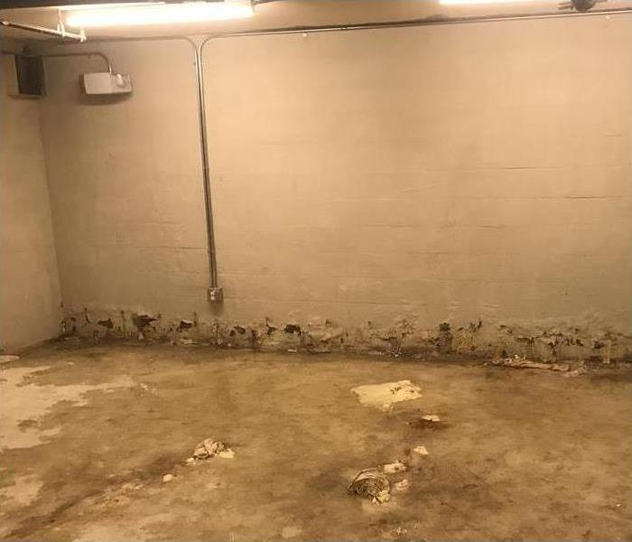 A basement with water damage